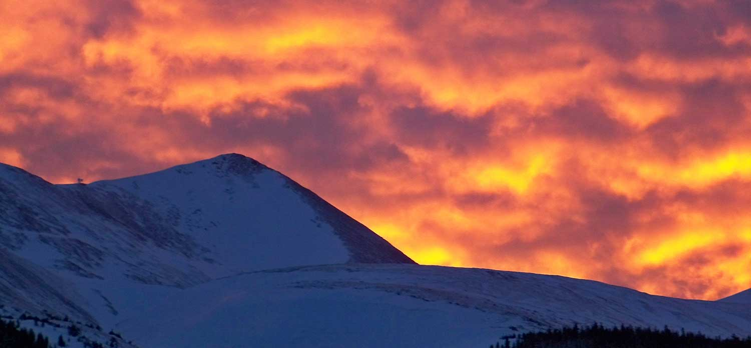 A beautiful sunset behind Peak 10 in Breckenridge. Photo: Ron Cullums